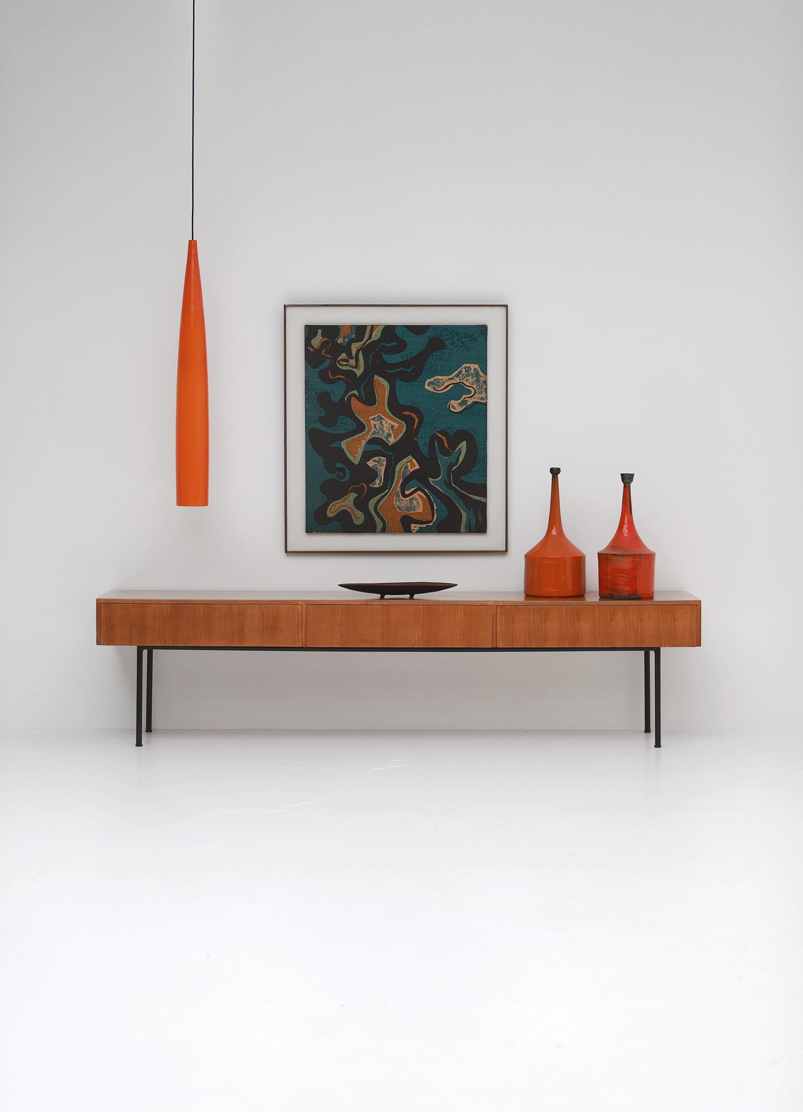 Orange tube pendant lamp by Gino Vistosiimage 7