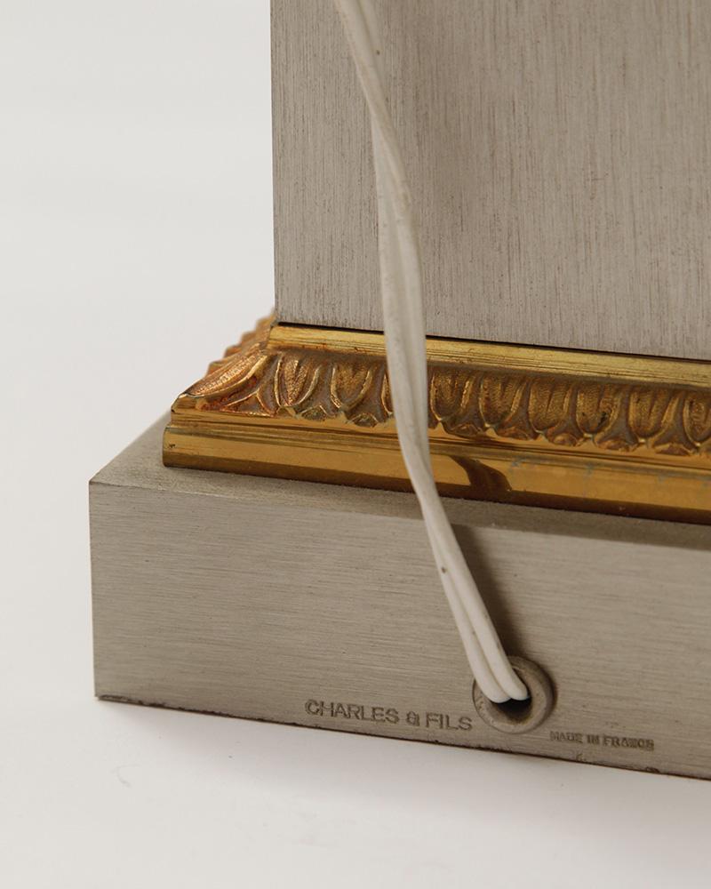 Charles Fils Pair of Gilt Bronze 'Lotus' Table Lamps