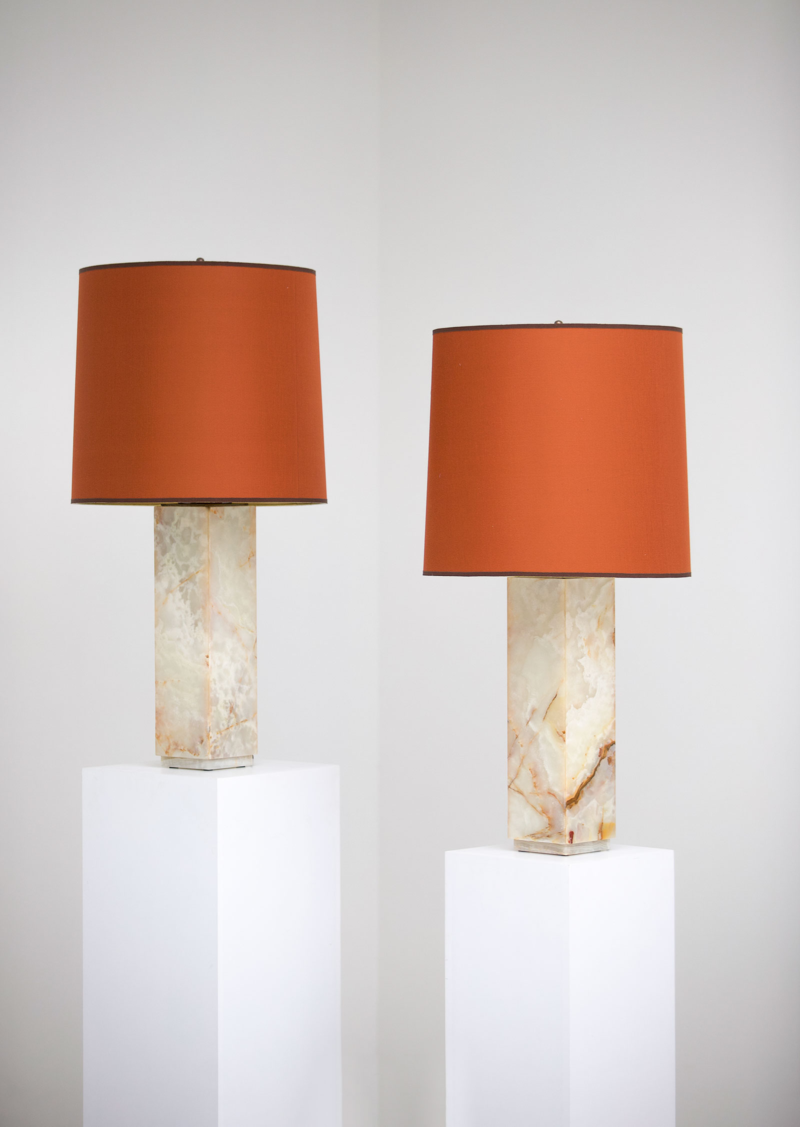 Pair of marble table lamps