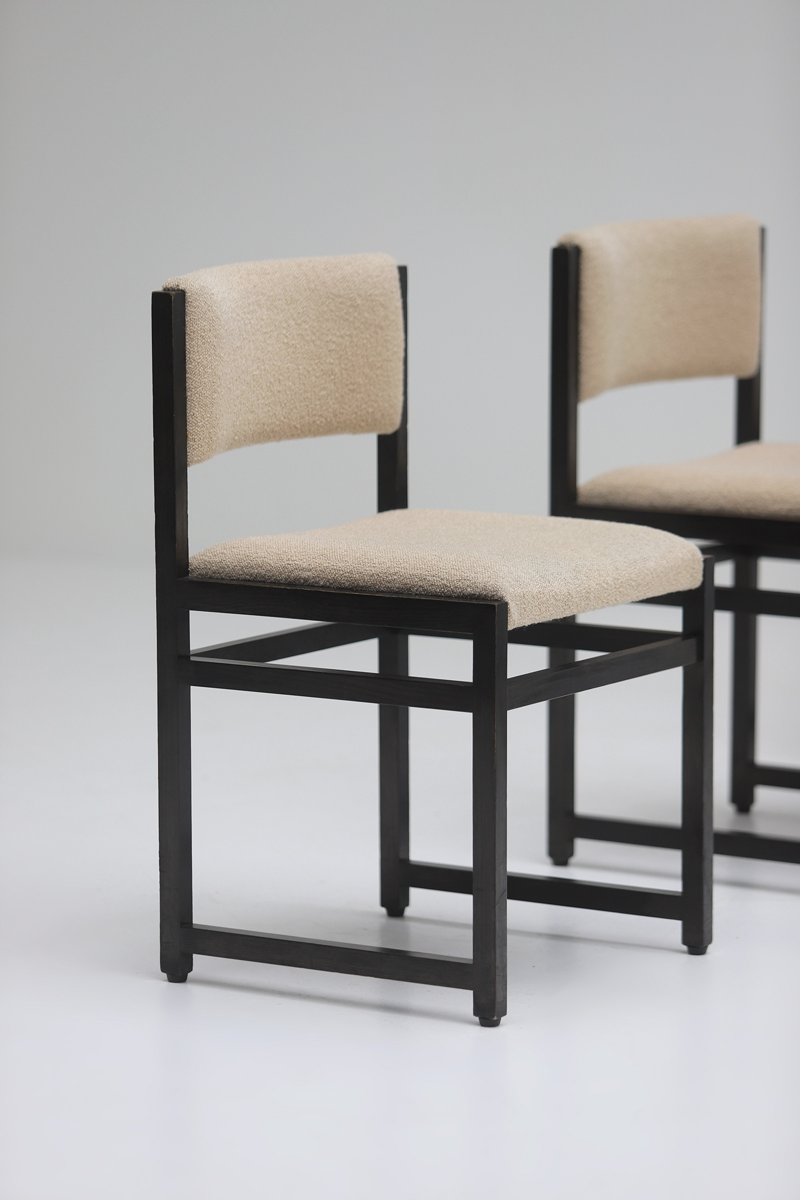 Six Black Stained Oak Chairs with Bouclé Upholsteryimage 4