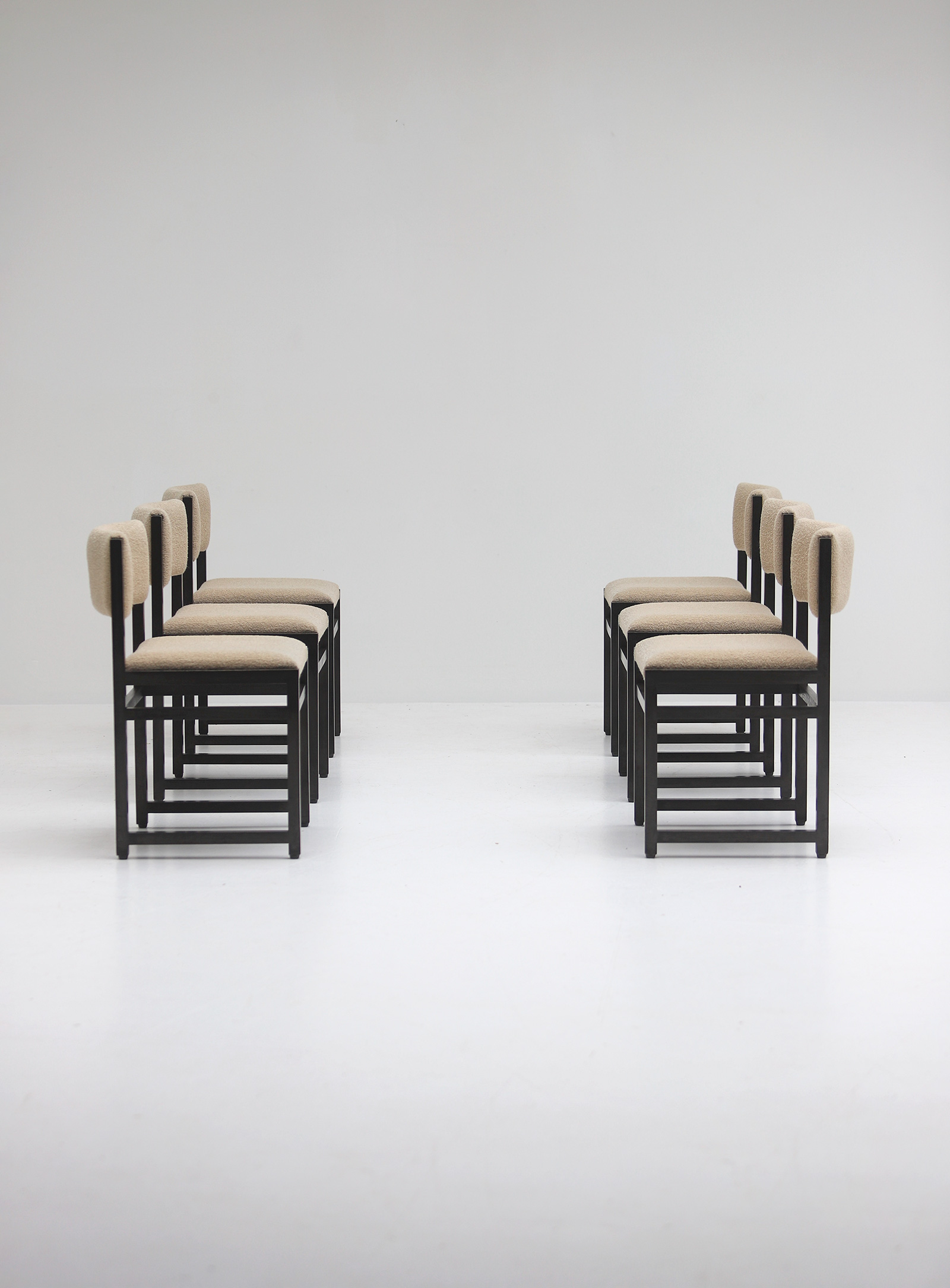 Six Black Stained Oak Chairs with Bouclé Upholsteryimage 1