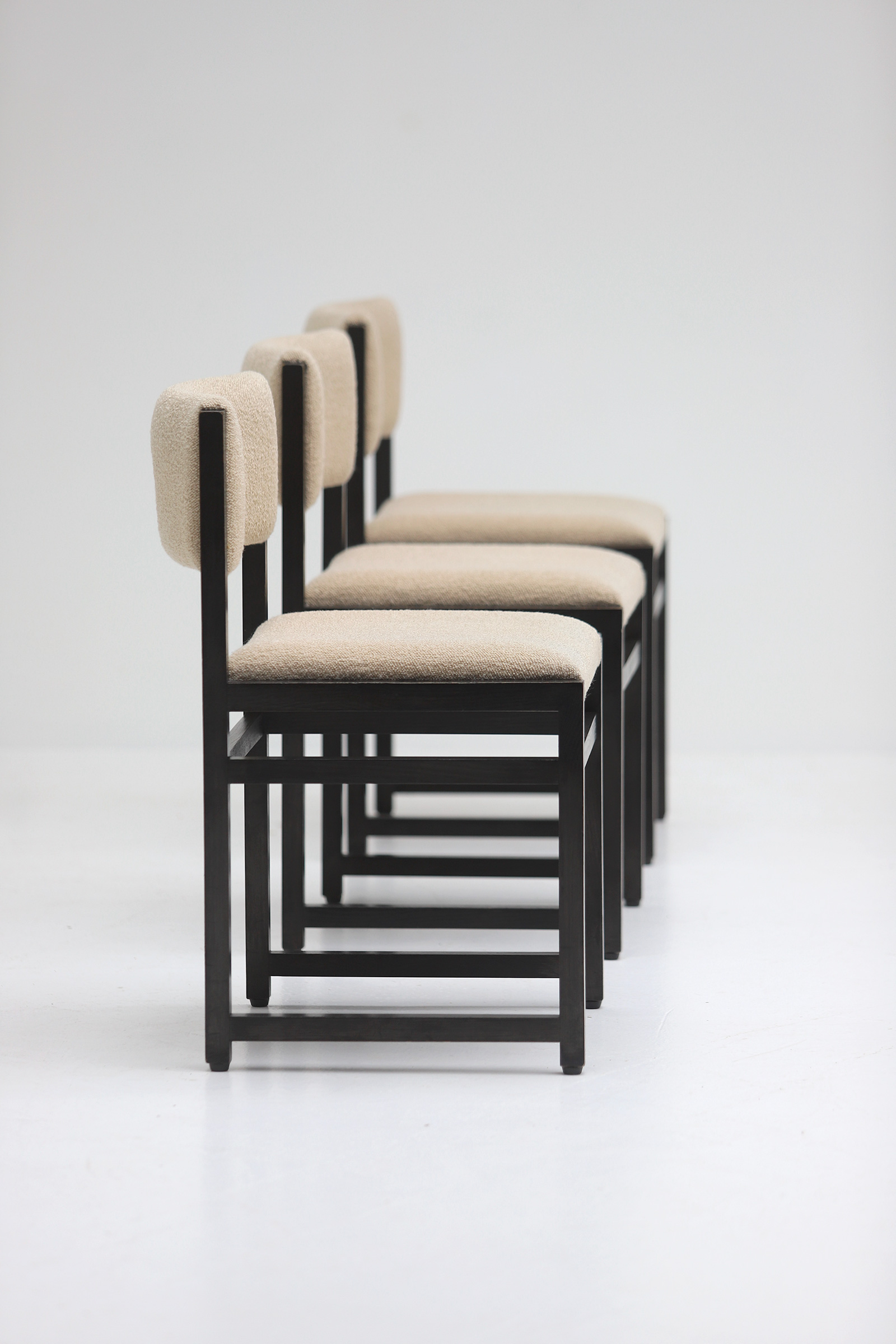 Six Black Stained Oak Chairs with Bouclé Upholsteryimage 2