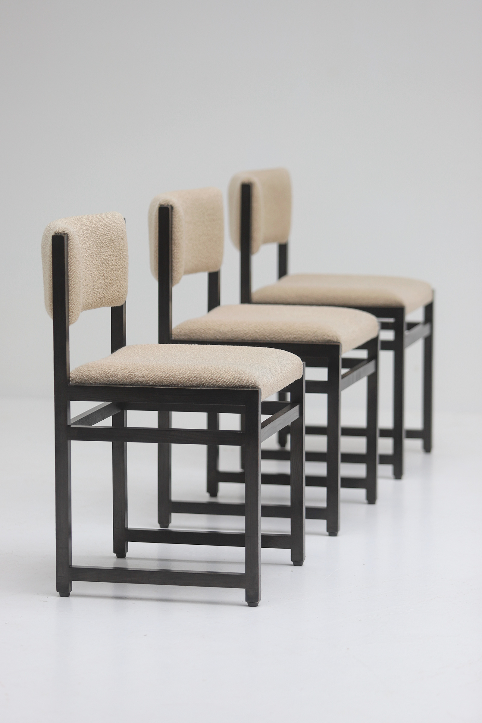 Six Black Stained Oak Chairs with Bouclé Upholsteryimage 3
