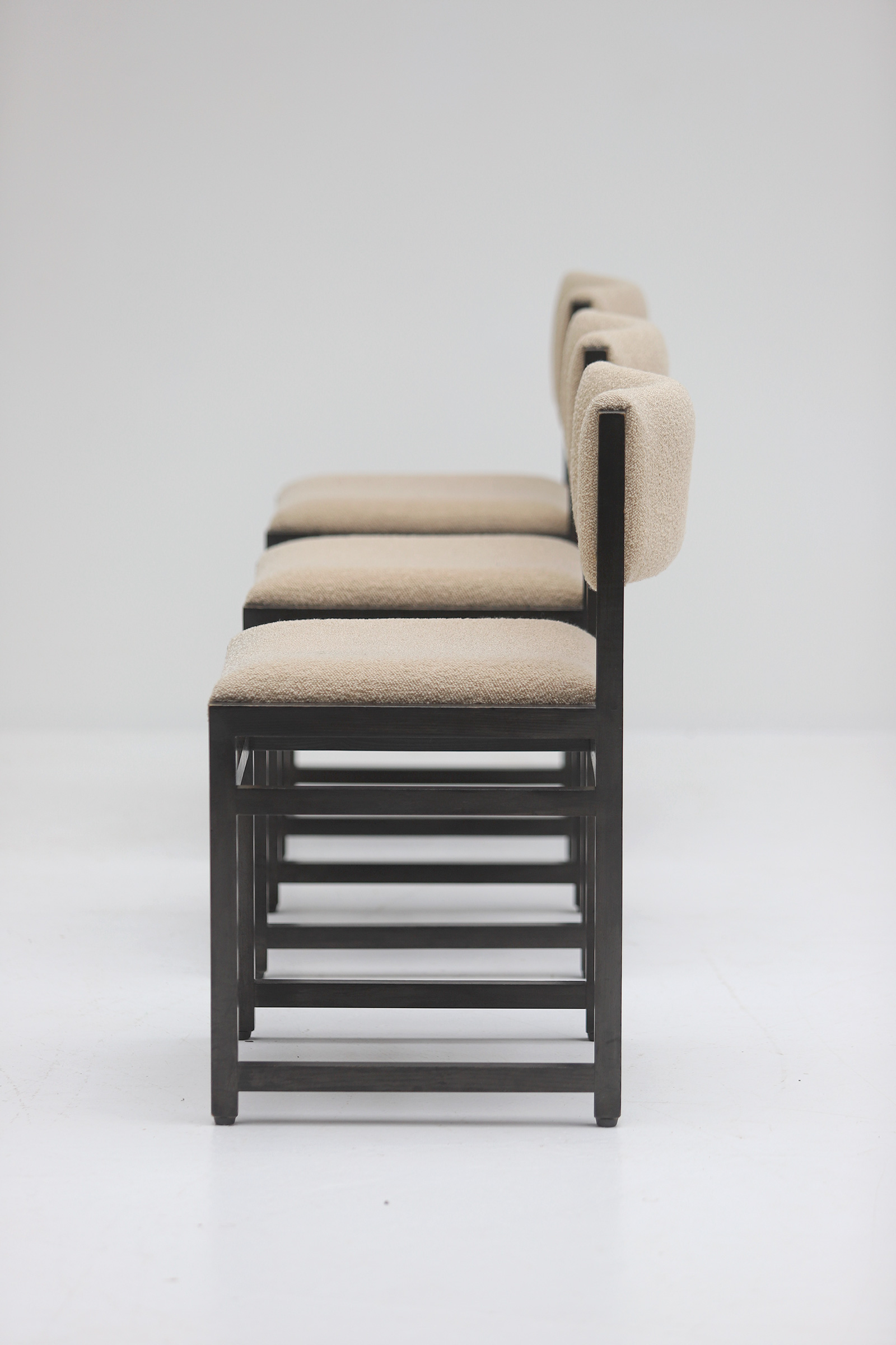 Six Black Stained Oak Chairs with Bouclé Upholsteryimage 5