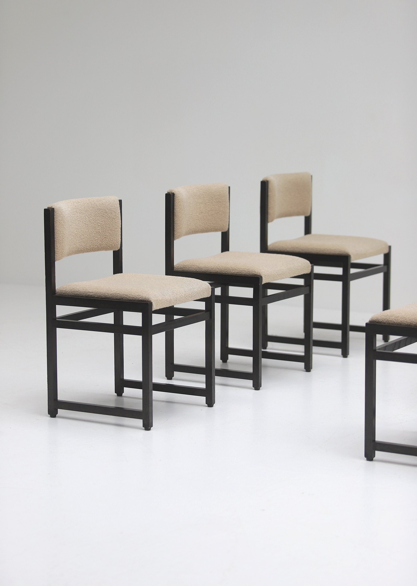 Six Black Stained Oak Chairs with Bouclé Upholsteryimage 7