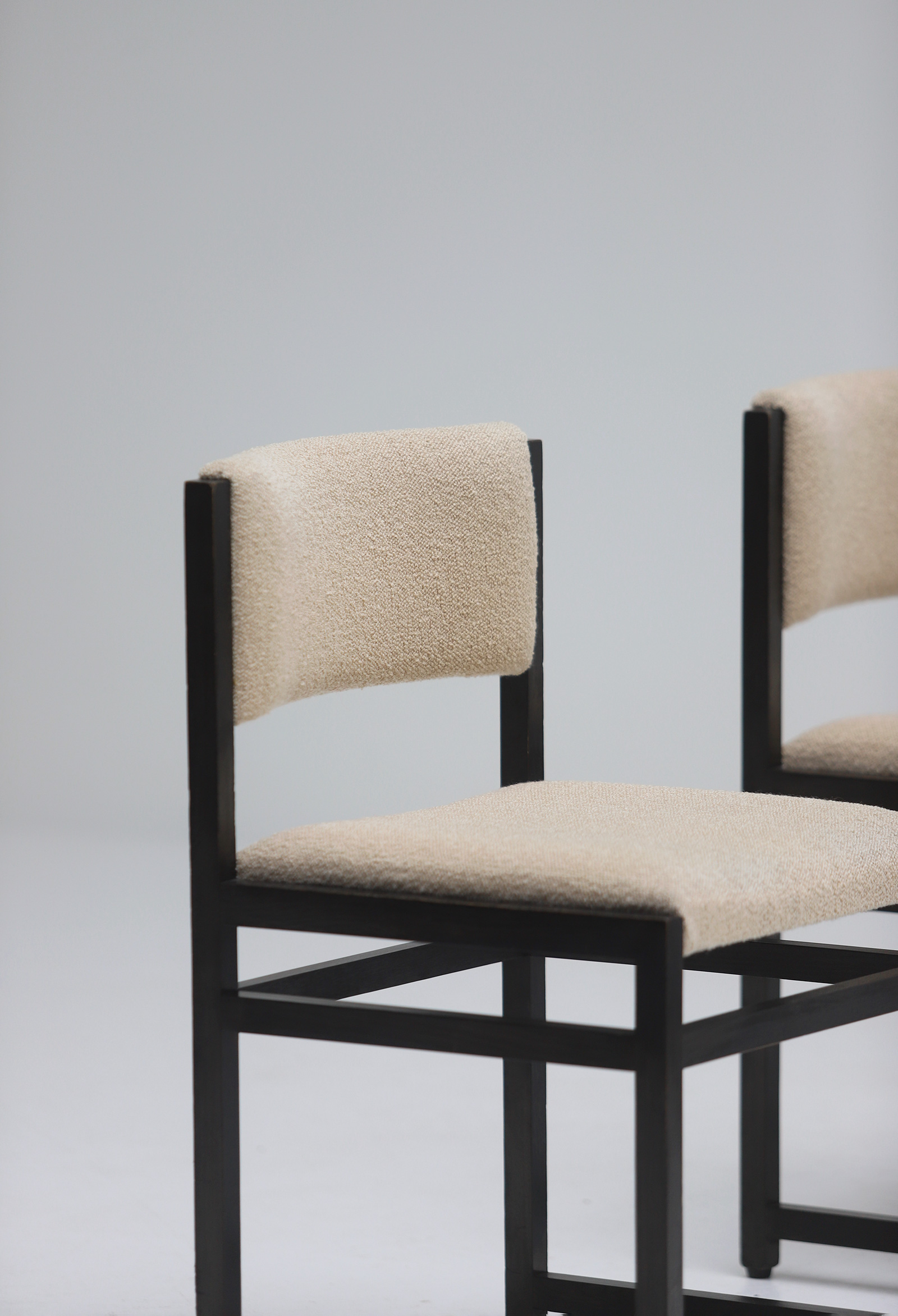 Six Black Stained Oak Chairs with Bouclé Upholsteryimage 9