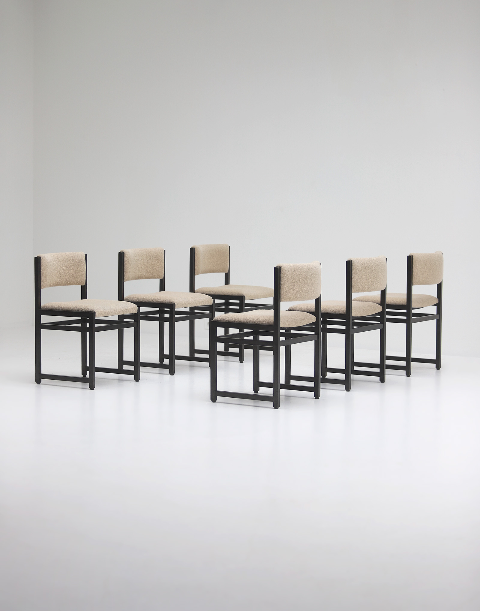 Six Black Stained Oak Chairs with Bouclé Upholsteryimage 6