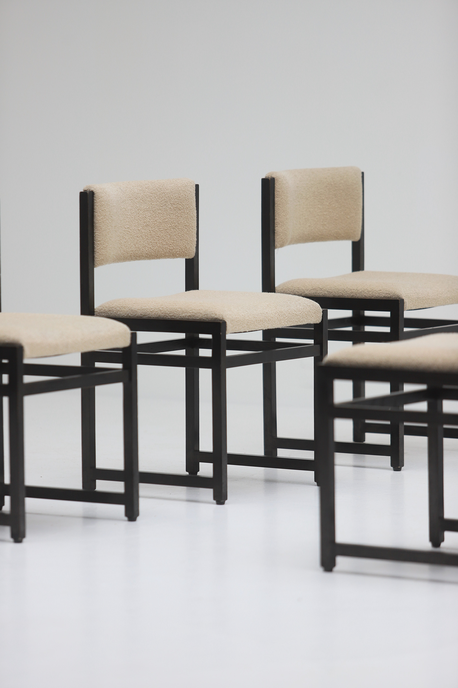 Six Black Stained Oak Chairs with Bouclé Upholsteryimage 8