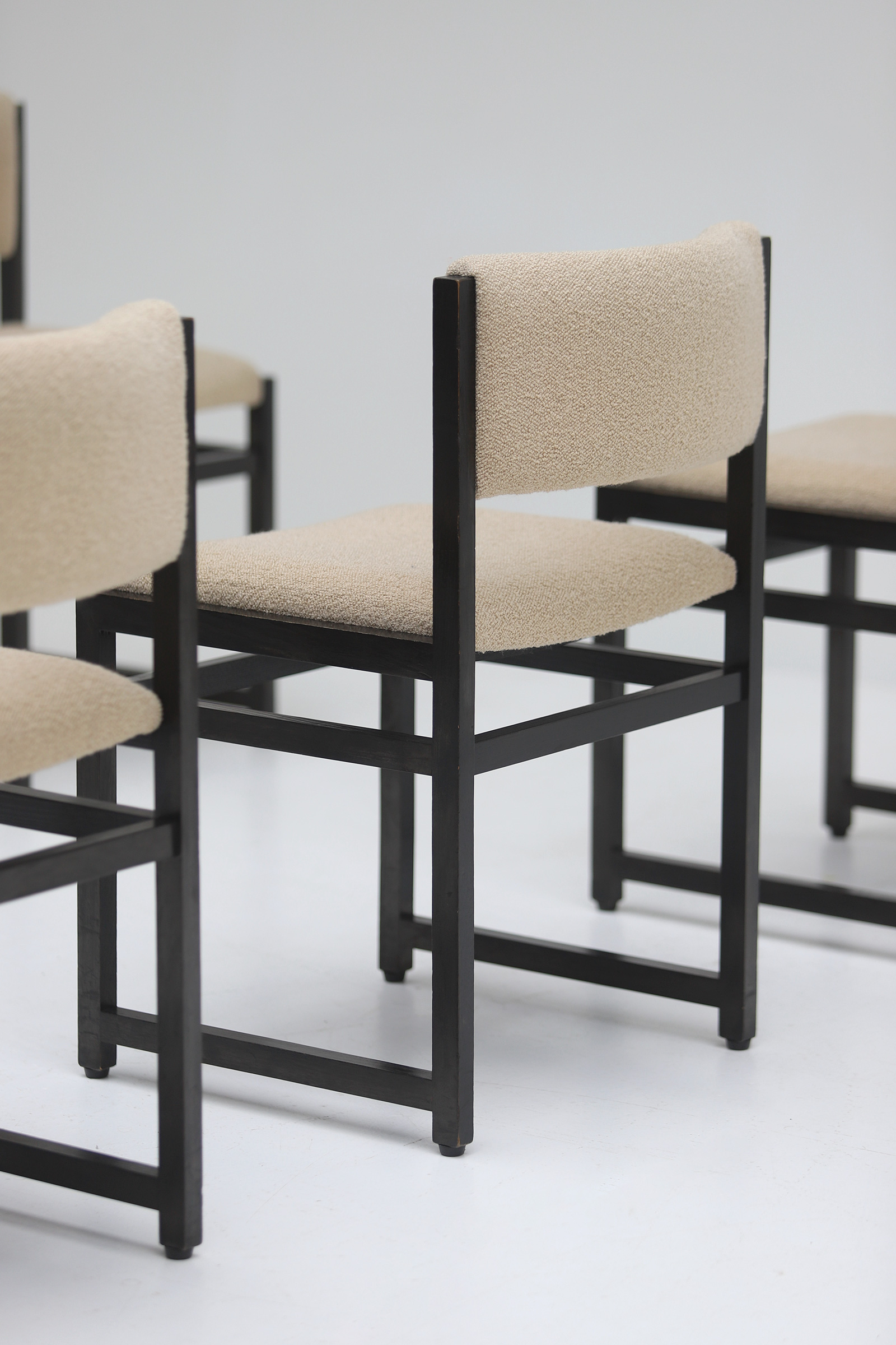 Six Black Stained Oak Chairs with Bouclé Upholsteryimage 11