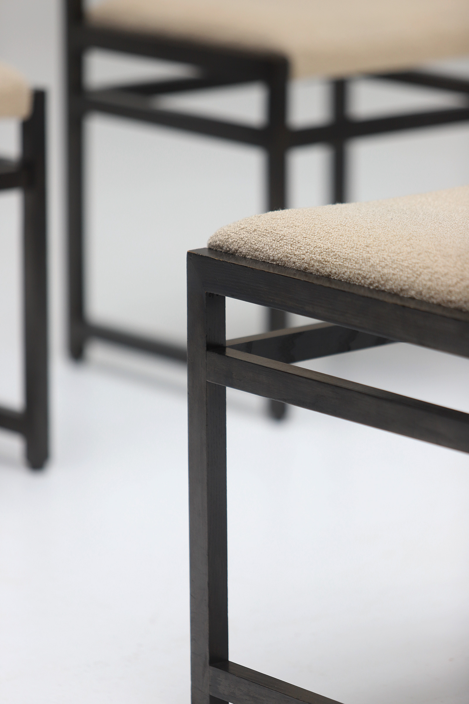 Six Black Stained Oak Chairs with Bouclé Upholsteryimage 15