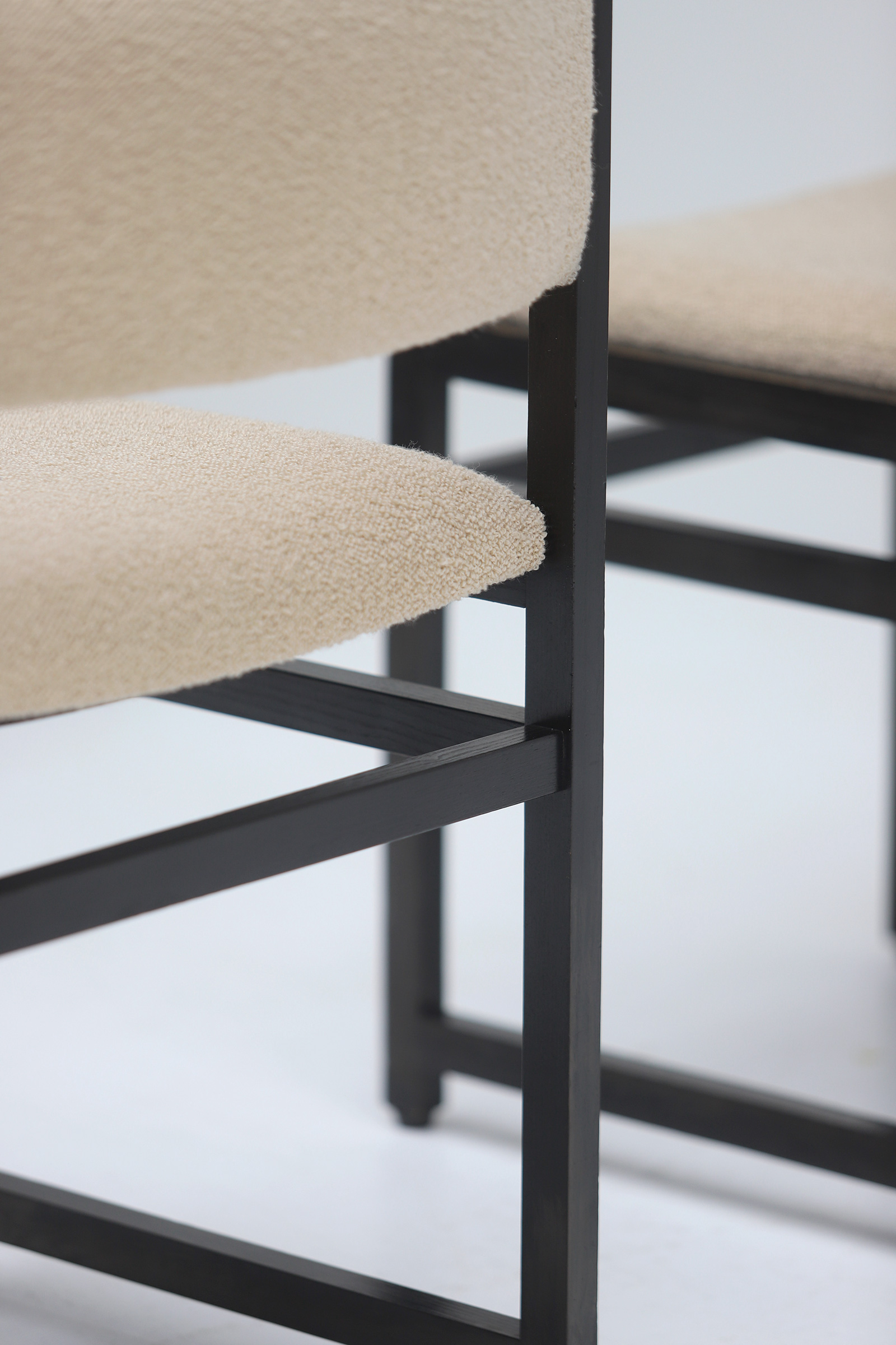Six Black Stained Oak Chairs with Bouclé Upholsteryimage 14