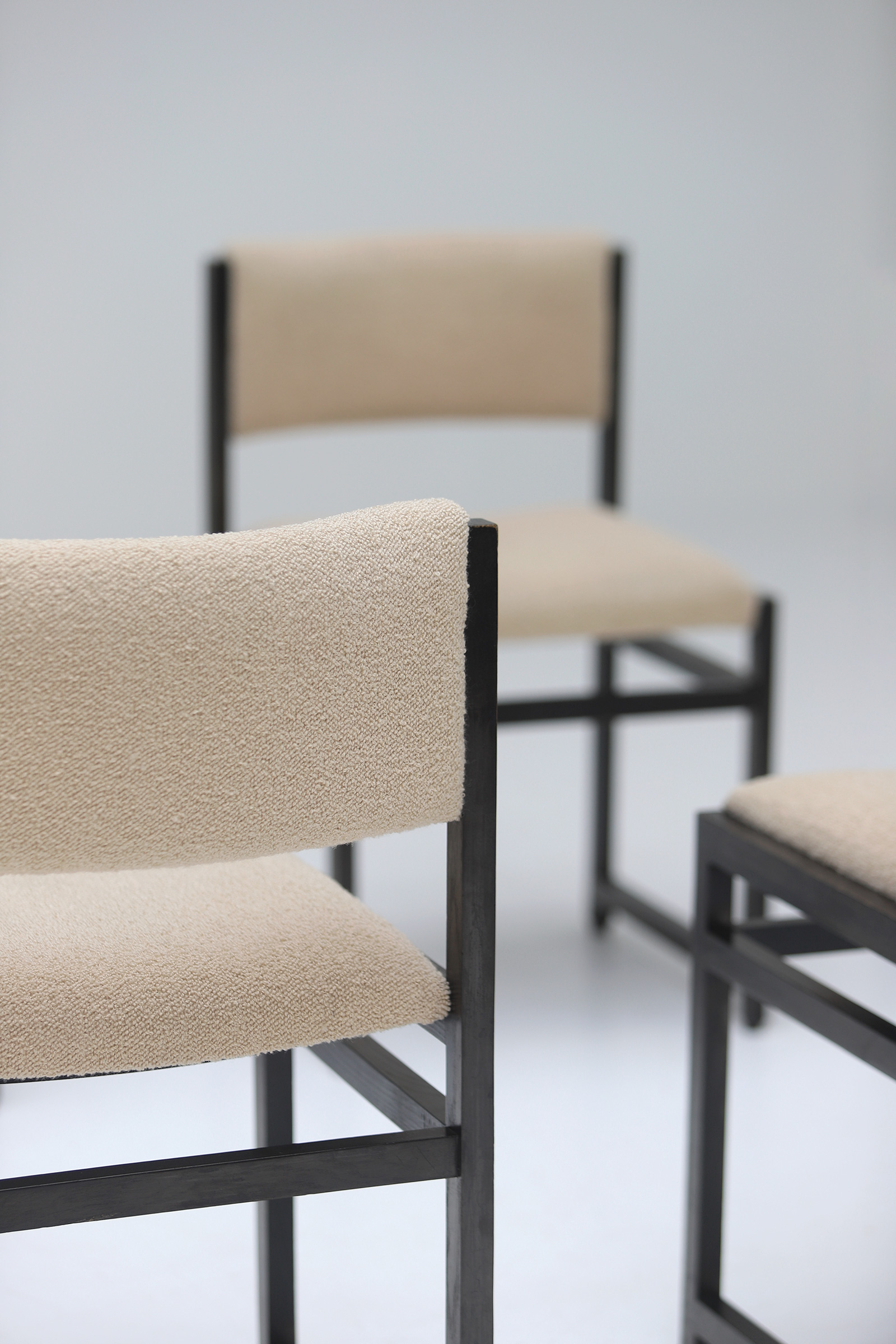 Six Black Stained Oak Chairs with Bouclé Upholsteryimage 13
