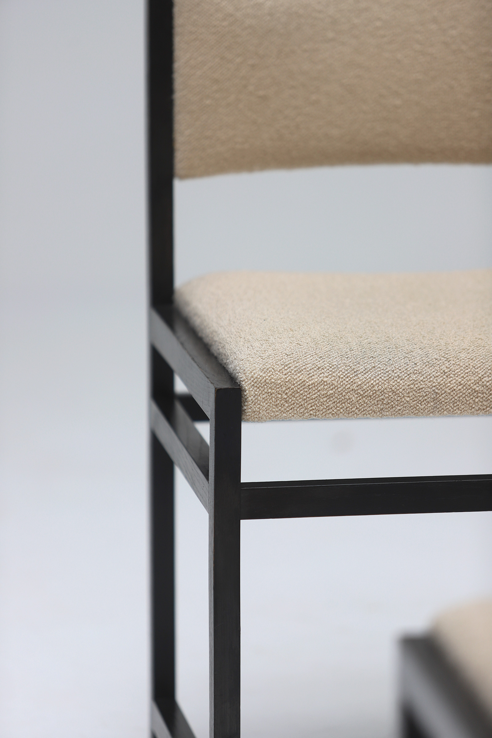 Six Black Stained Oak Chairs with Bouclé Upholsteryimage 10