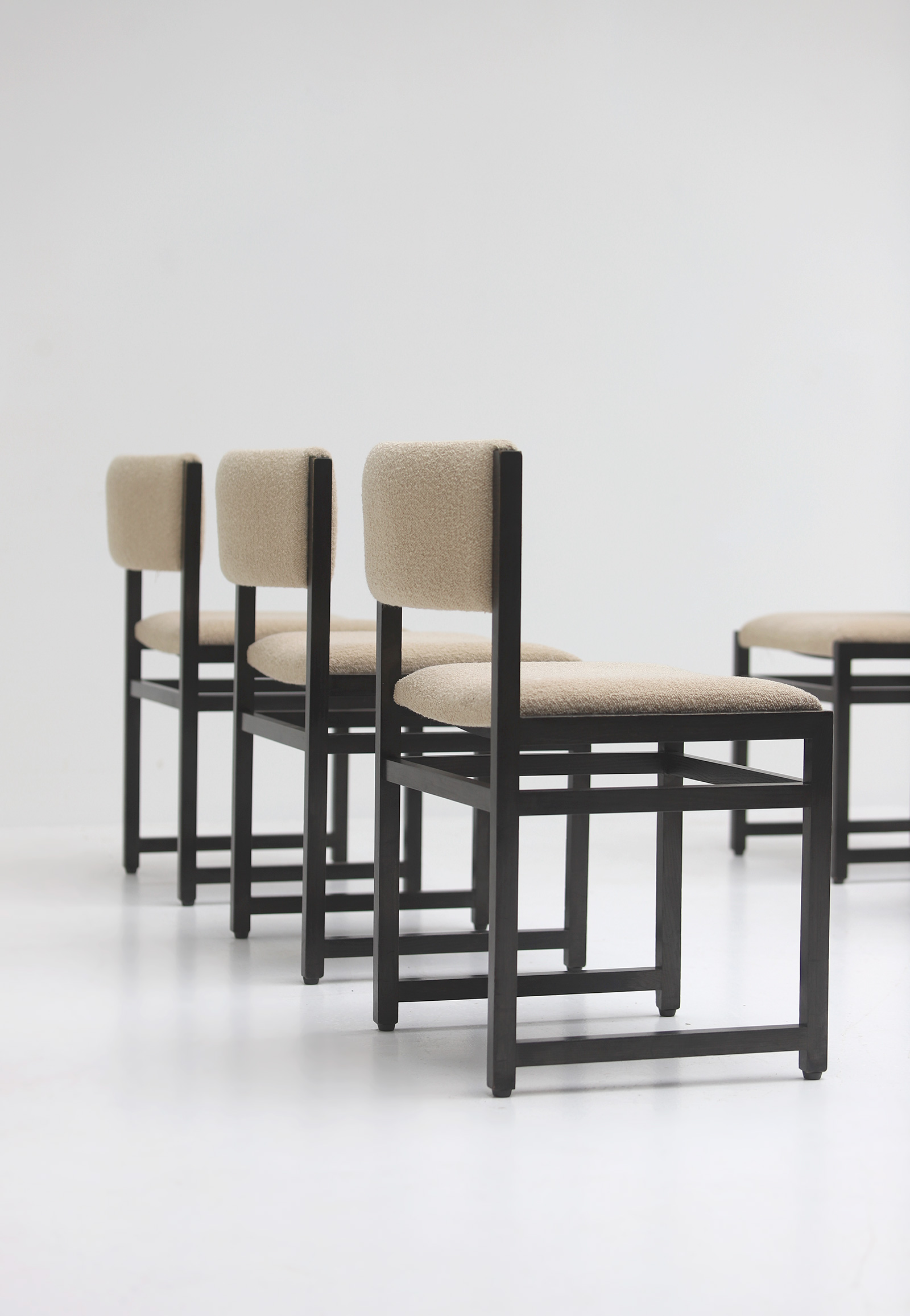 Six Black Stained Oak Chairs with Bouclé Upholsteryimage 16