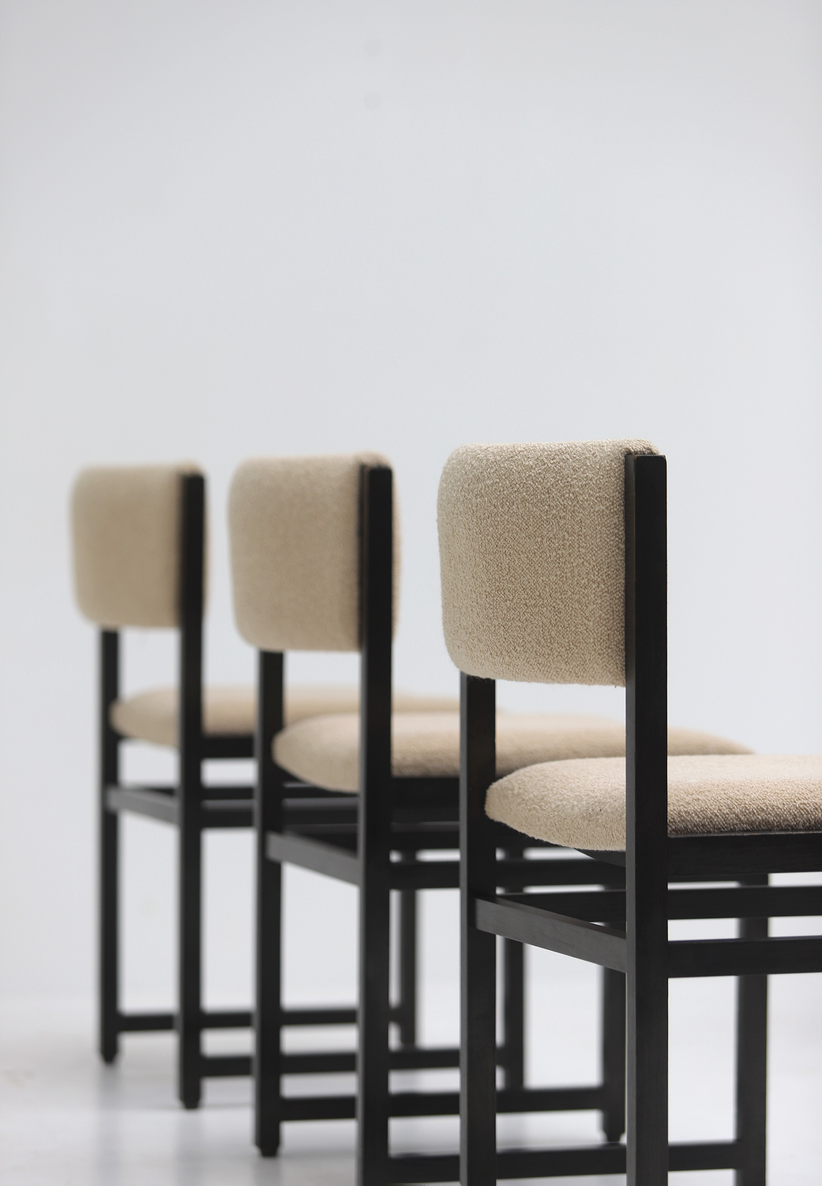 Six Black Stained Oak Chairs with Bouclé Upholsteryimage 17