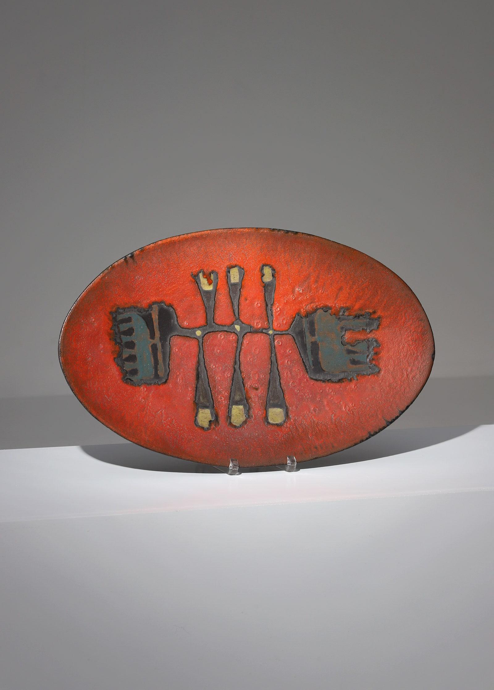 Decorative ceramic Perignem plate 1960s
