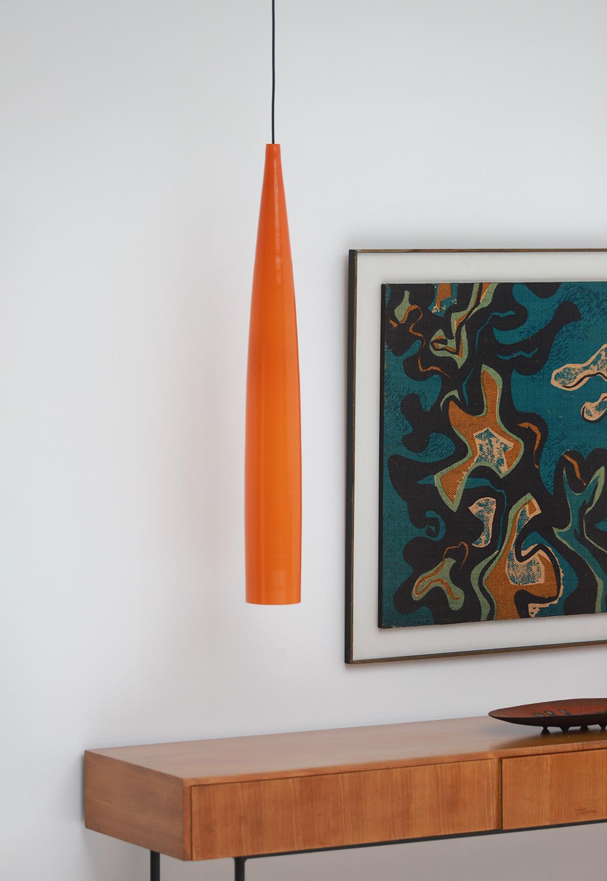 Orange tube pendant lamp by Gino Vistosiimage 1