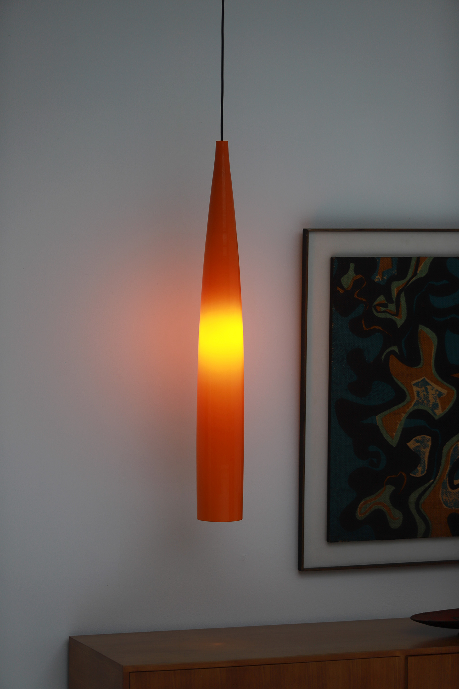 Orange tube pendant lamp by Gino Vistosiimage 3
