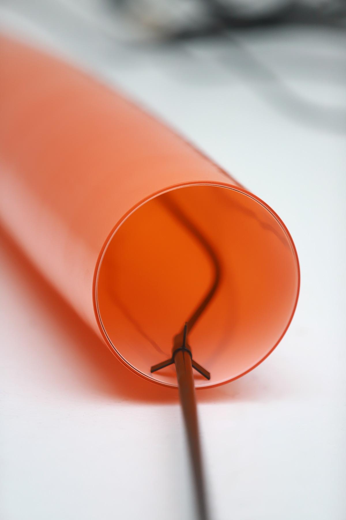 Orange tube pendant lamp by Gino Vistosiimage 5