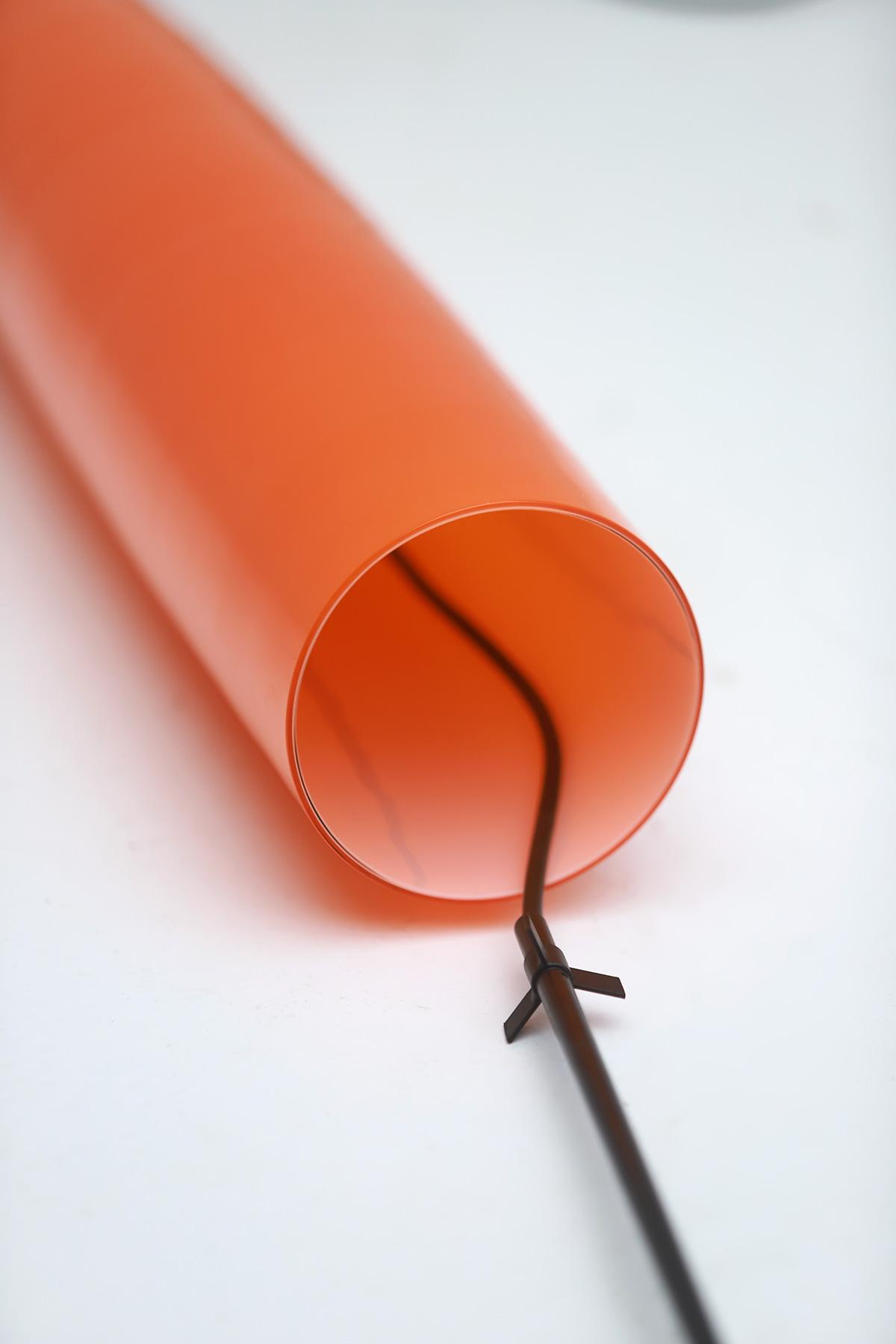 Orange tube pendant lamp by Gino Vistosiimage 6