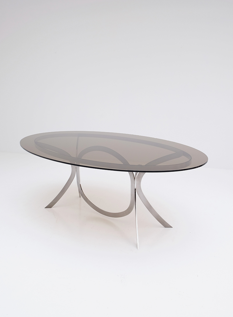 Brushed Stainless Steel And Chrome Dining Tableimage 5