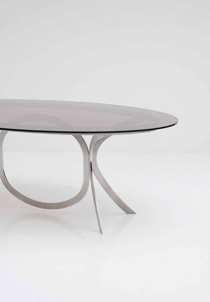 Brushed Stainless Steel And Chrome Dining Tableimage 8