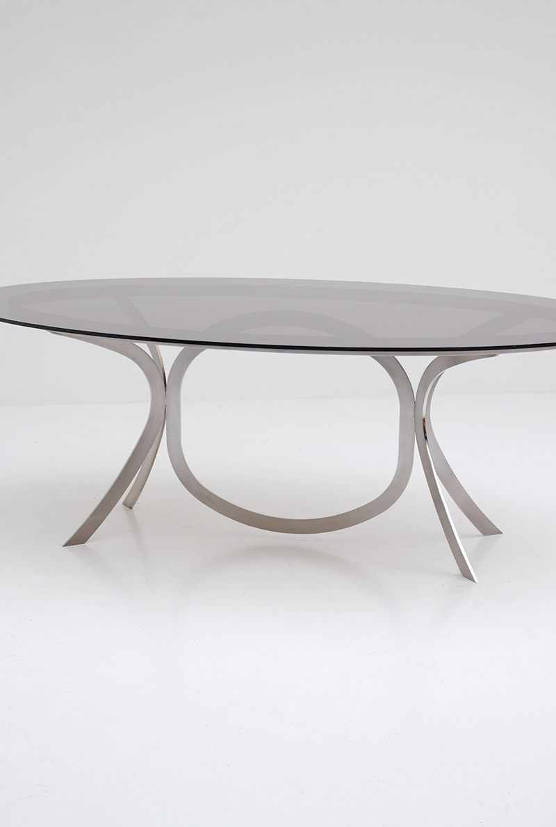 Brushed Stainless Steel And Chrome Dining Tableimage 7