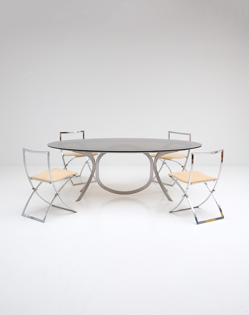 Brushed Stainless Steel And Chrome Dining Tableimage 1