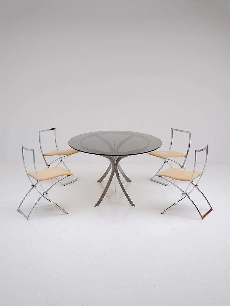 Brushed Stainless Steel And Chrome Dining Tableimage 3