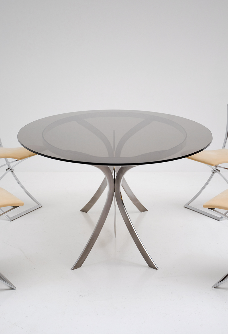 Brushed Stainless Steel And Chrome Dining Tableimage 4