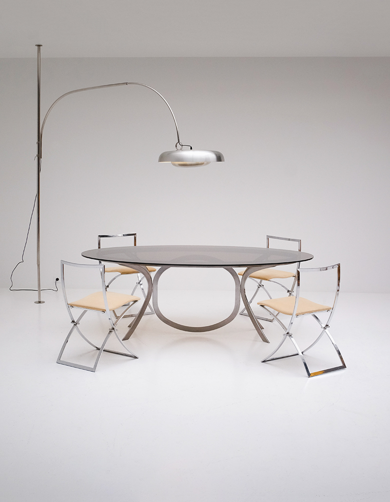 Brushed Stainless Steel And Chrome Dining Table