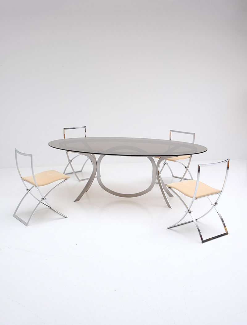 Brushed Stainless Steel And Chrome Dining Tableimage 2