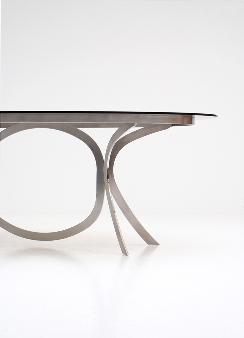 Brushed Stainless Steel And Chrome Dining Tableimage 6