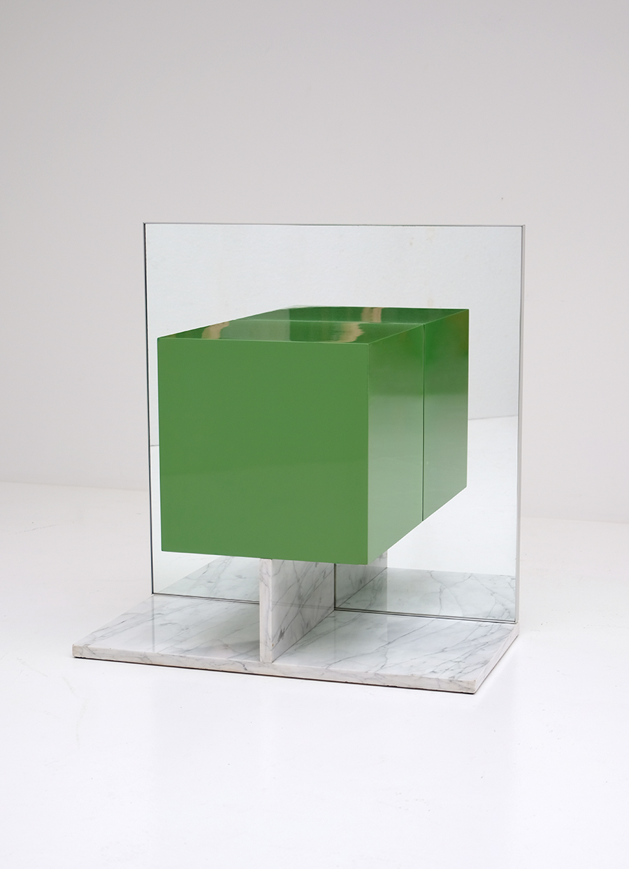 Pieter De Bruyne Green Mirror Cabinet With Marble Base 1974image 2