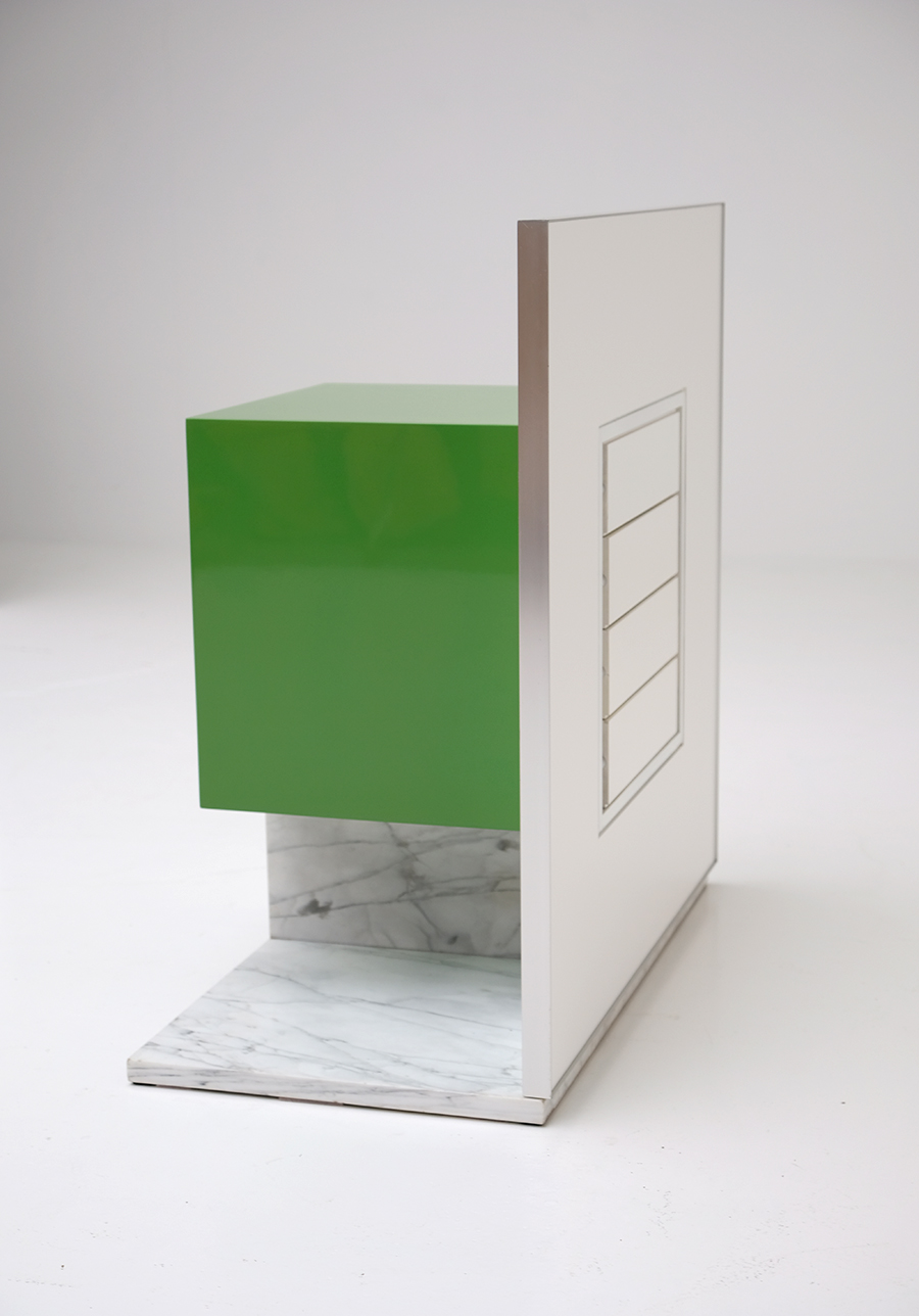 Pieter De Bruyne Green Mirror Cabinet With Marble Base 1974image 9
