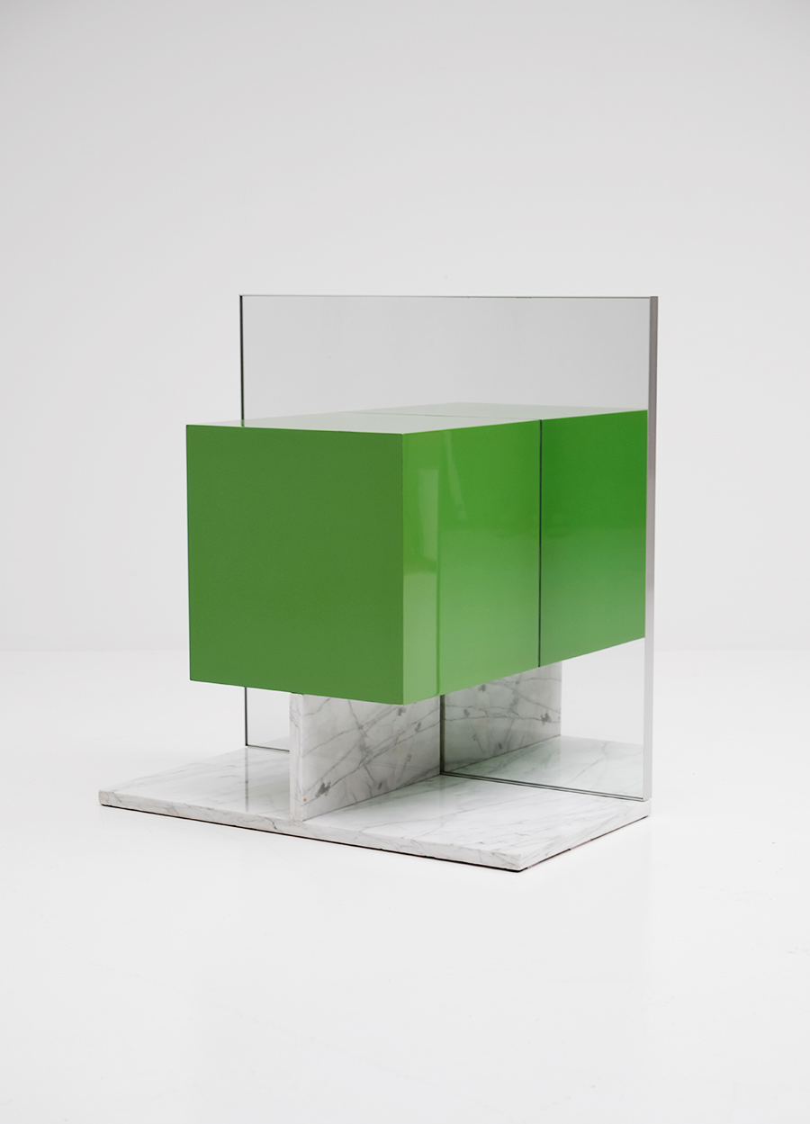 Pieter De Bruyne Green Mirror Cabinet With Marble Base 1974image 3