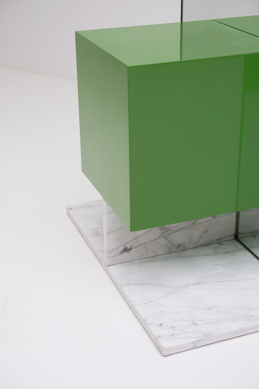 Pieter De Bruyne Green Mirror Cabinet With Marble Base 1974image 4