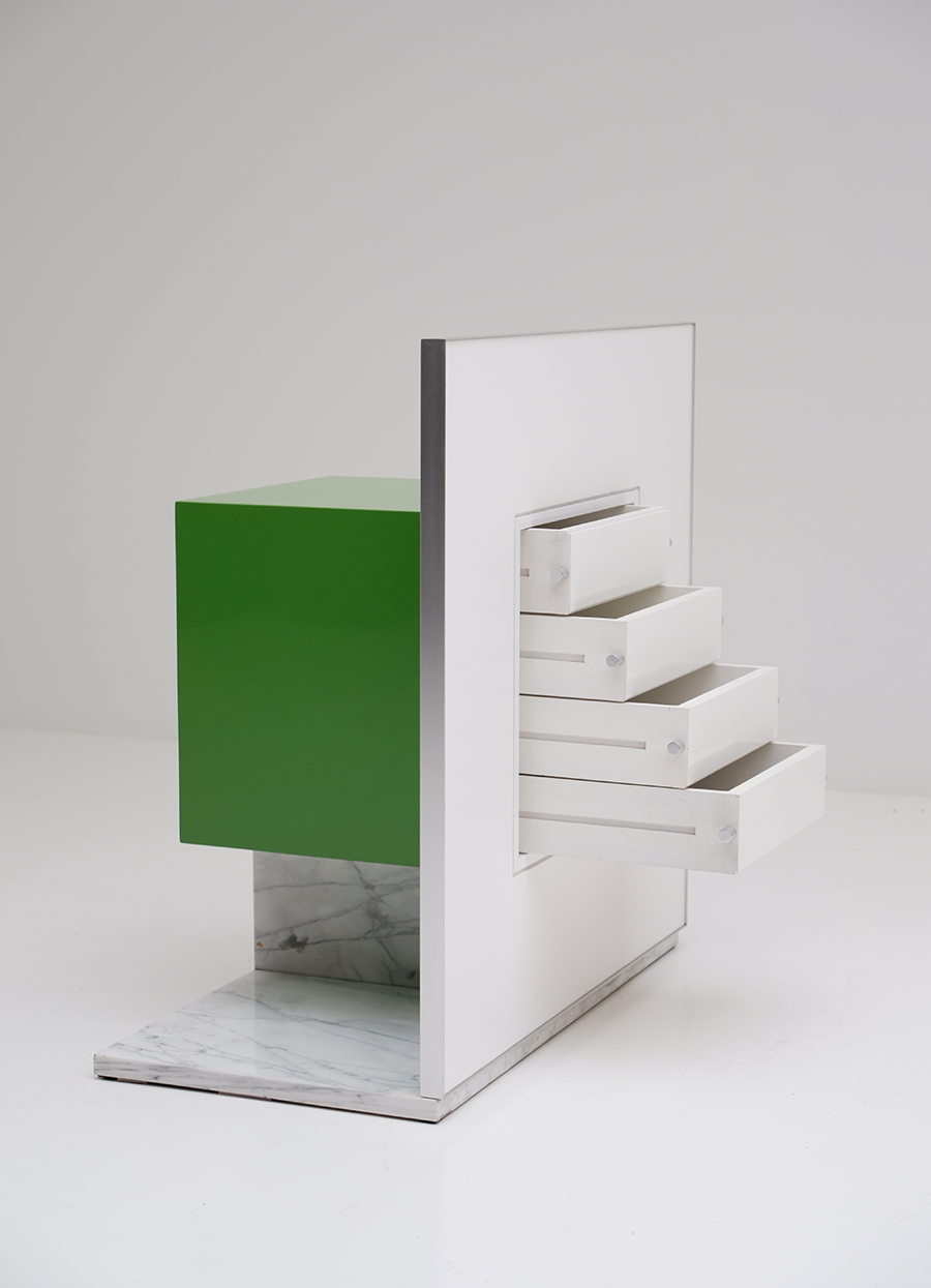 Pieter De Bruyne Green Mirror Cabinet With Marble Base 1974image 6