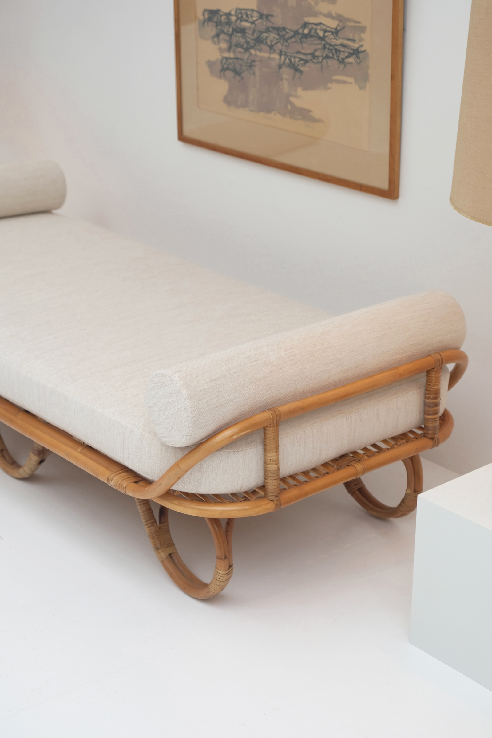 1950s Decorative Rattan Daybed