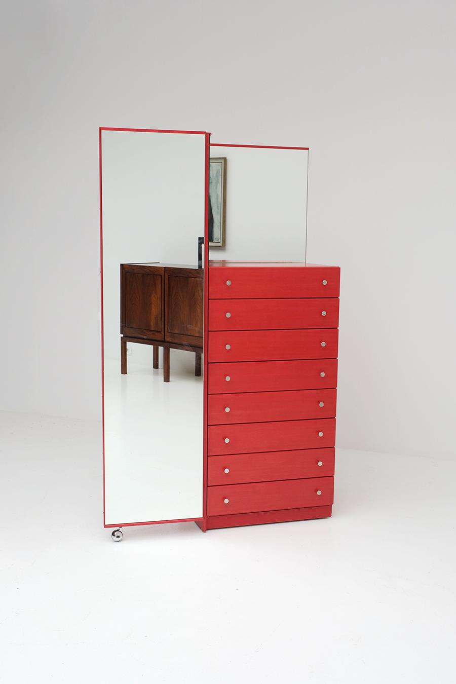 Red Commode Dresser Mirrorimage 3