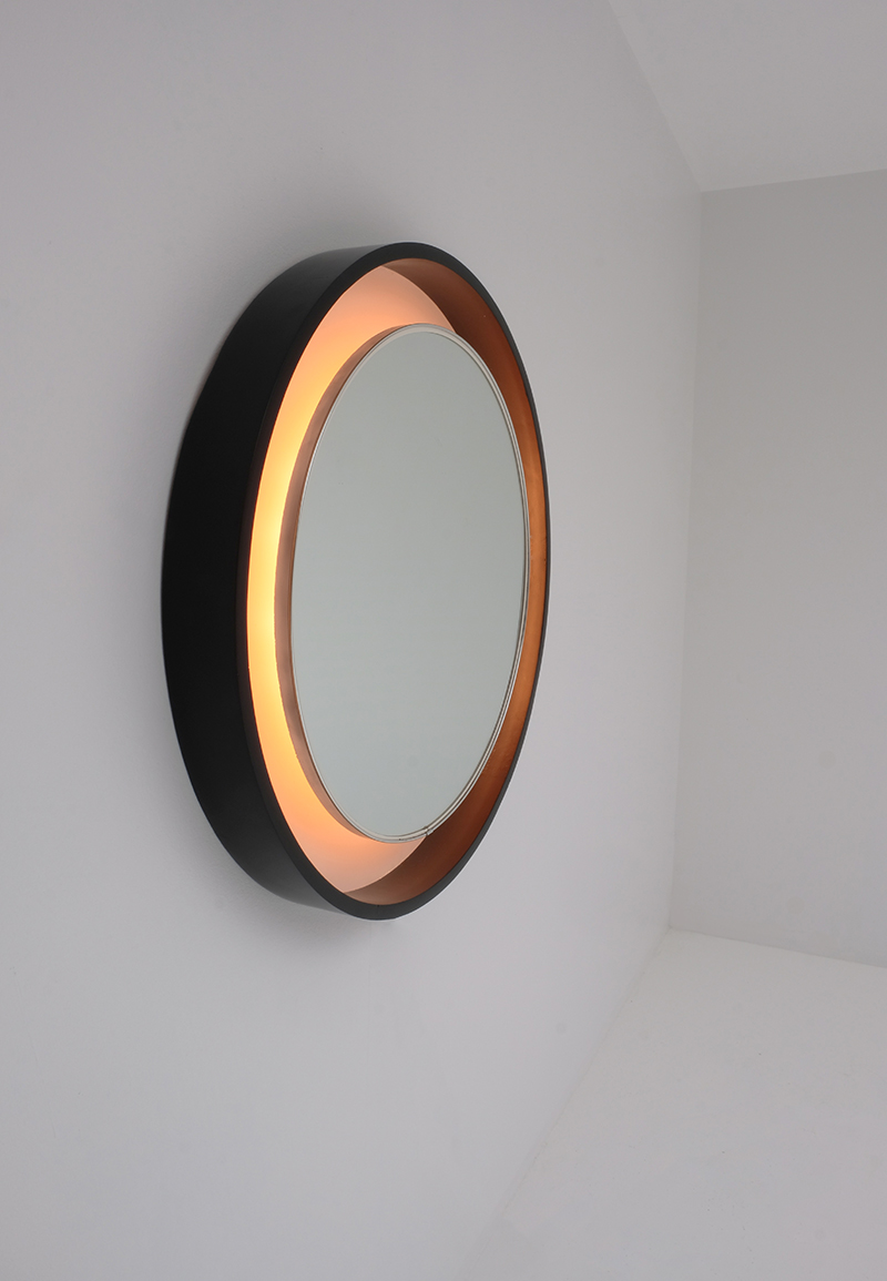 Large 70s Decorative Round Mirror