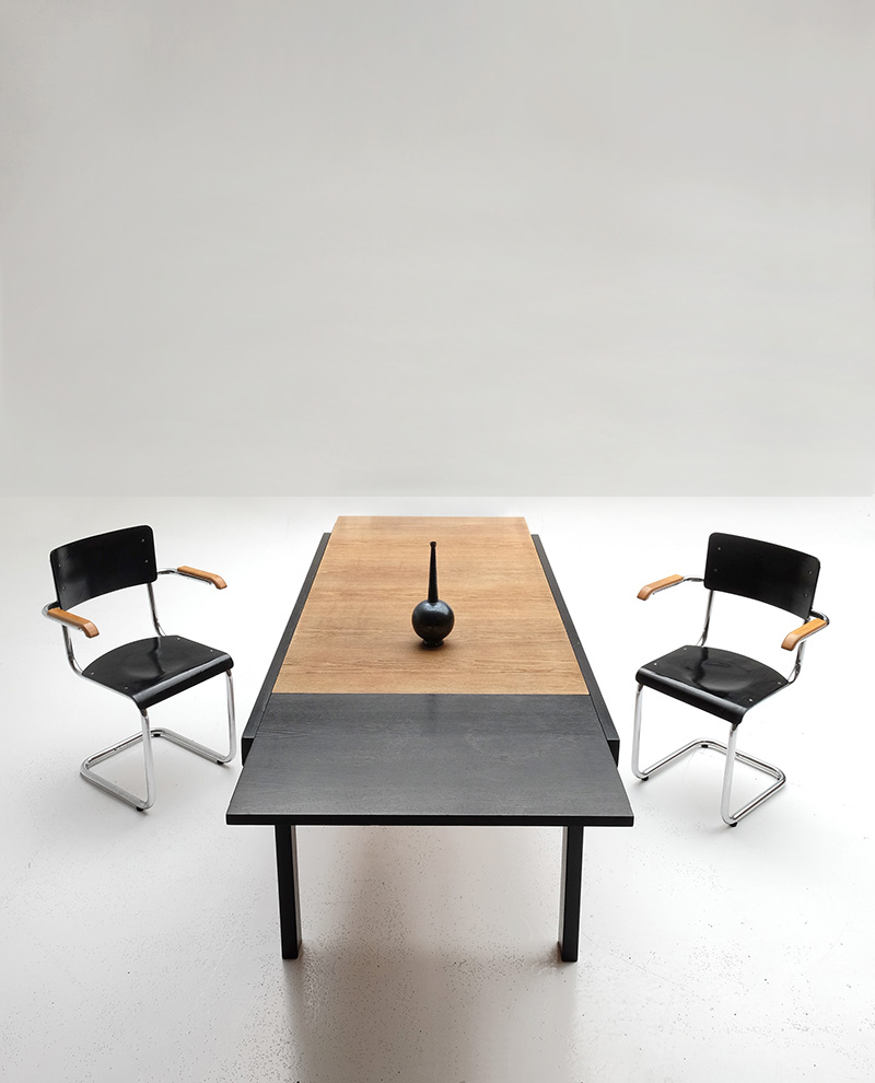Black Ebonized Two Tone Dining Tableimage 1