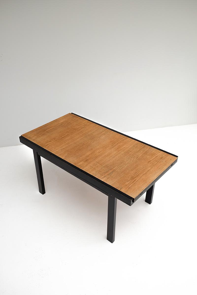 Black ebonized two tone dining table