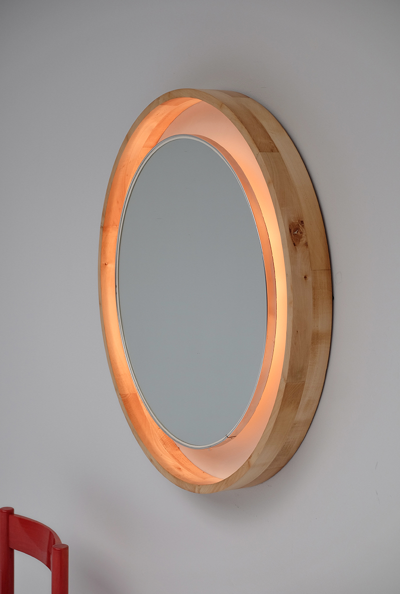 LARGE ROUND NATURAL WOOD BACK LITT MIRROR
