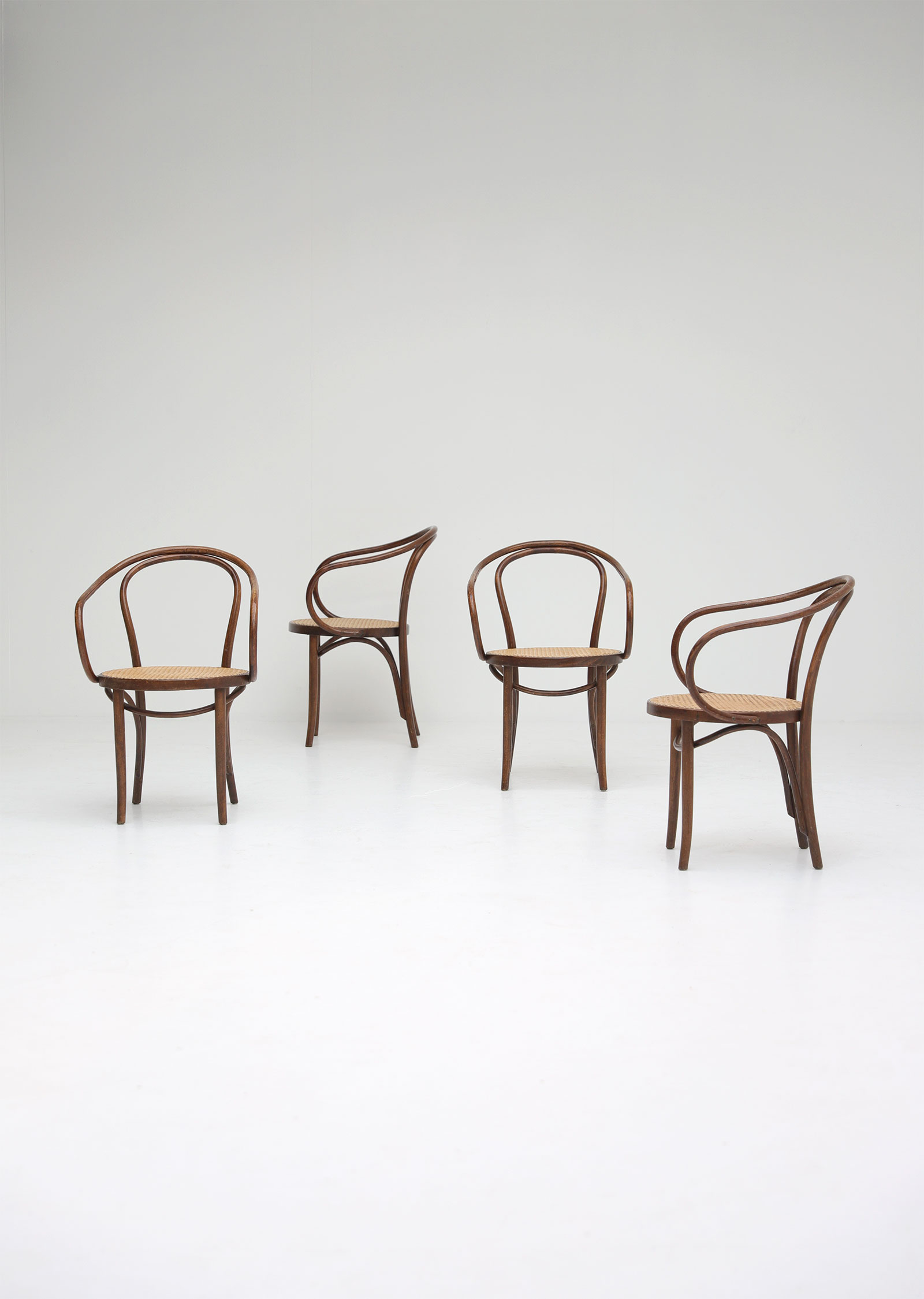 Set of four bentwood B9 armchairs by Thonet