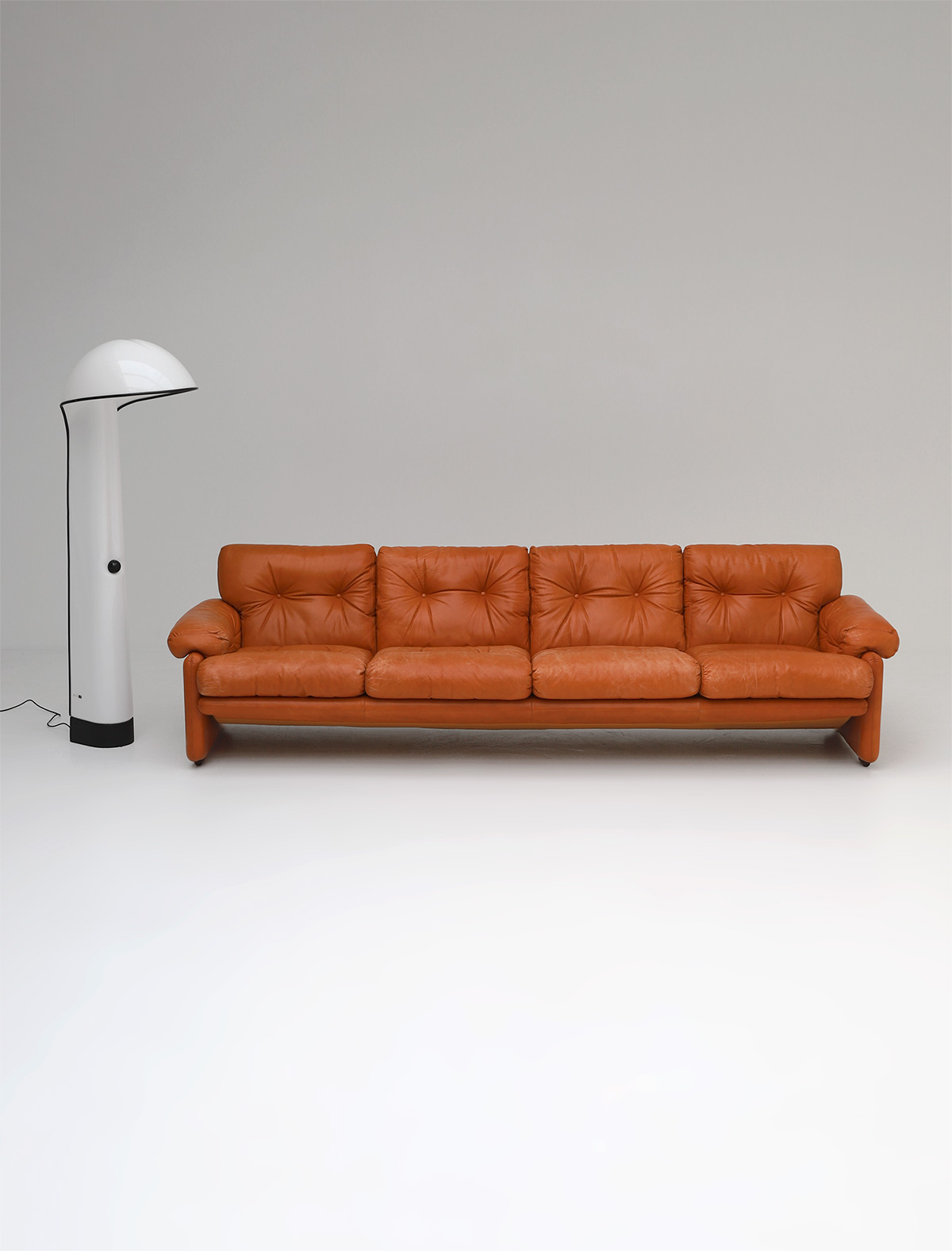 Tobia Scarpa 4 seat Cognac Leather Sofa B&B Italiaimage 1