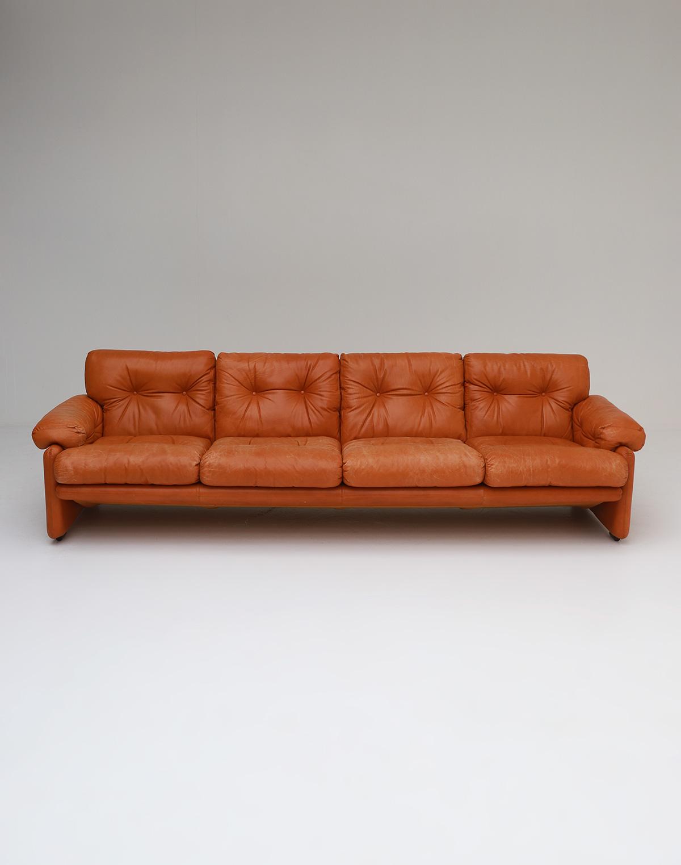 Tobia Scarpa 4 seat Cognac Leather Sofa B&B Italiaimage 2