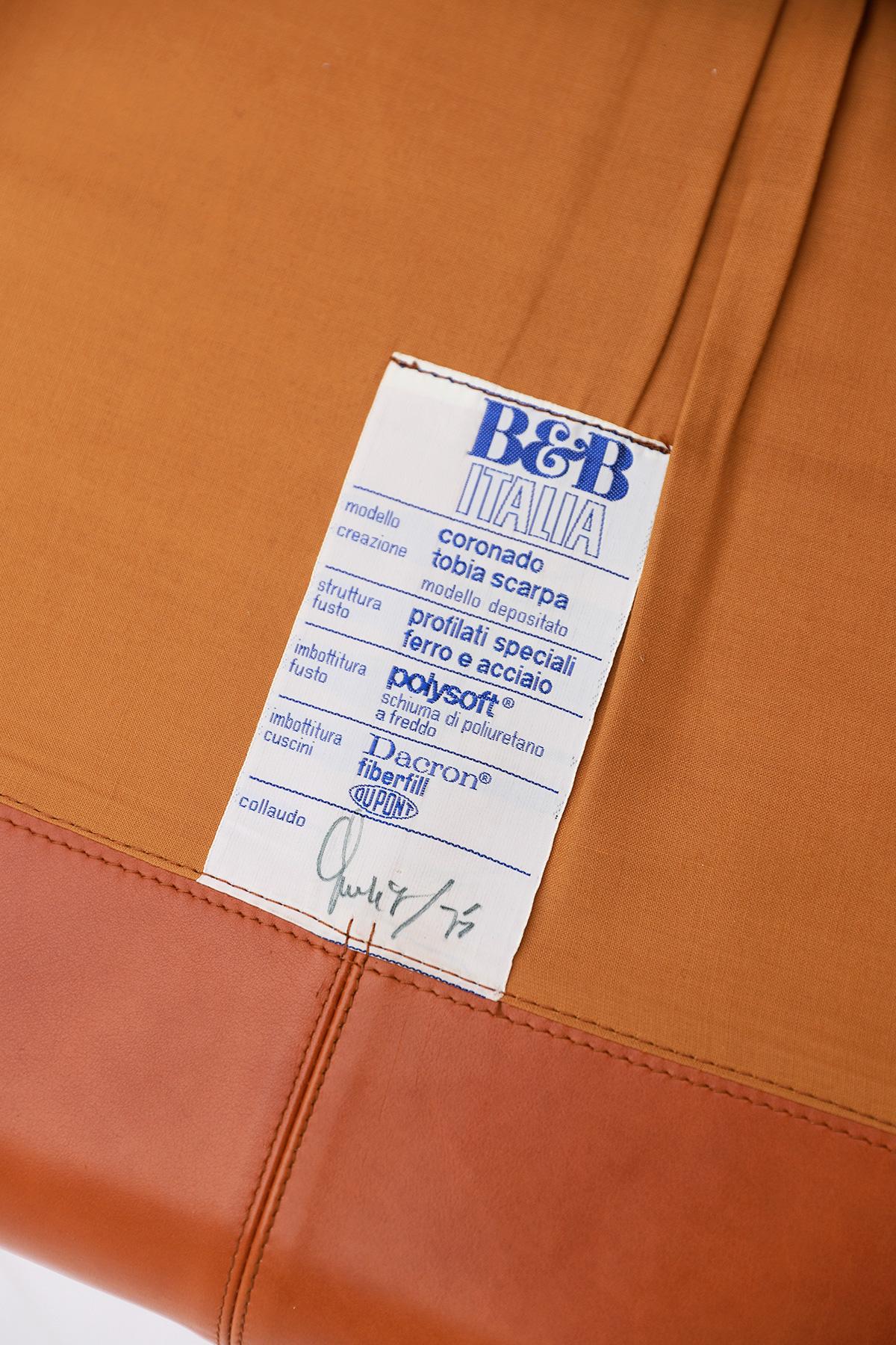 Tobia Scarpa 4 seat Cognac Leather Sofa B&B Italiaimage 8