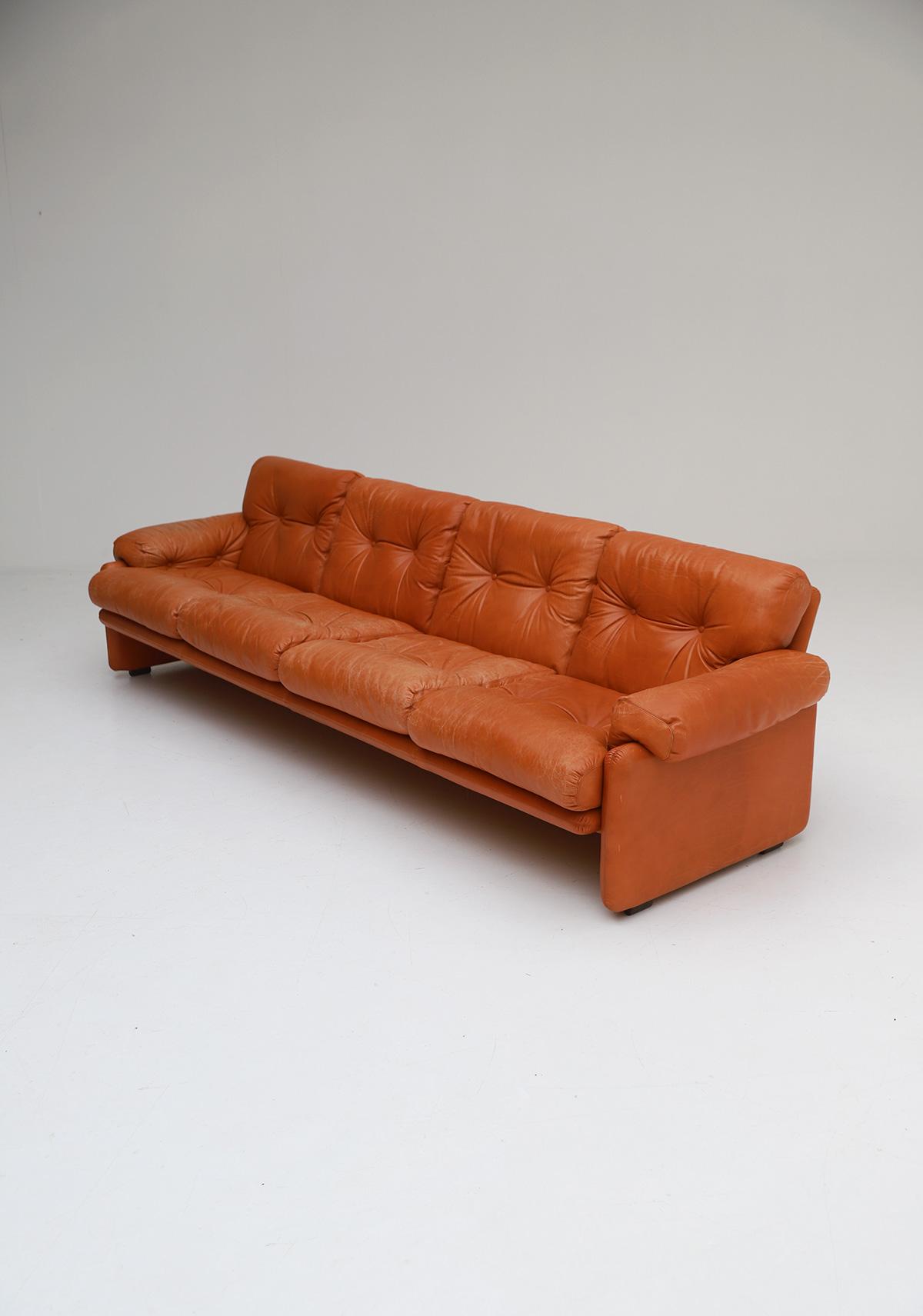 Tobia Scarpa 4 seat Cognac Leather Sofa B&B Italiaimage 4