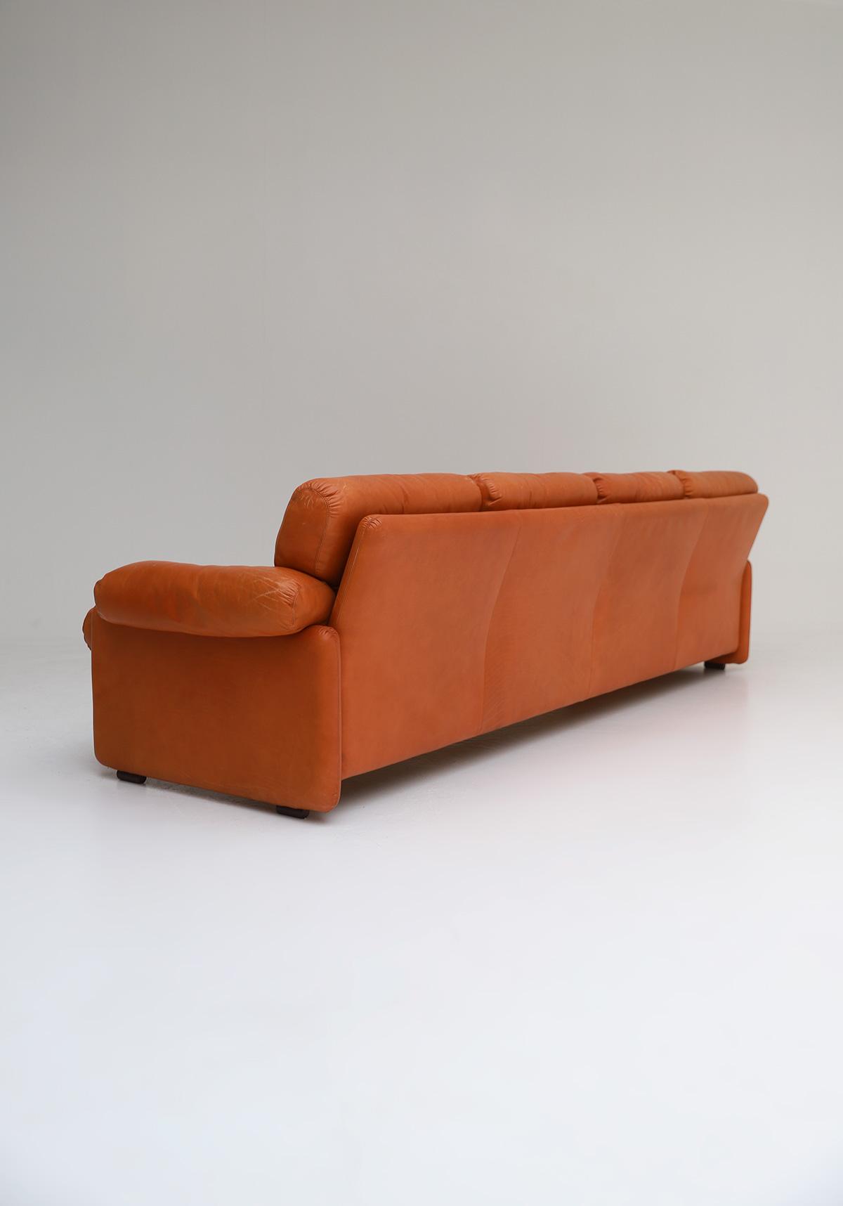 Tobia Scarpa 4 seat Cognac Leather Sofa B&B Italiaimage 6